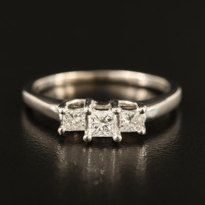 Platinum and 14K Diamond Three Stone Ring