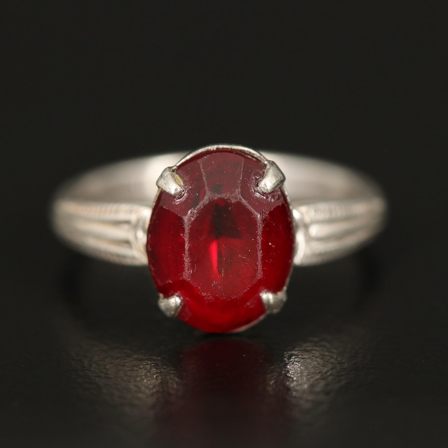 Sterling Glass Solitaire Ring