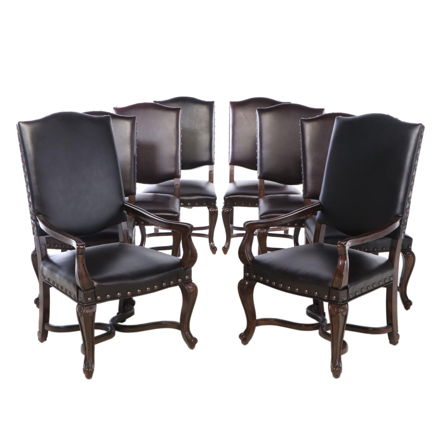 """Bernhardt Furniture """"Eaton Square"""" Nail Tack Leather Upholstered Dining Chairs"""