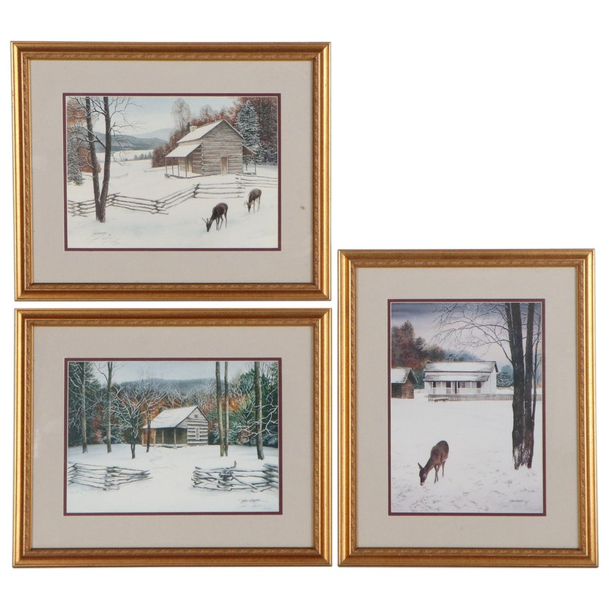 Vern Hippensteal Winter Landscape Offset Lithographs, Late 20th Century