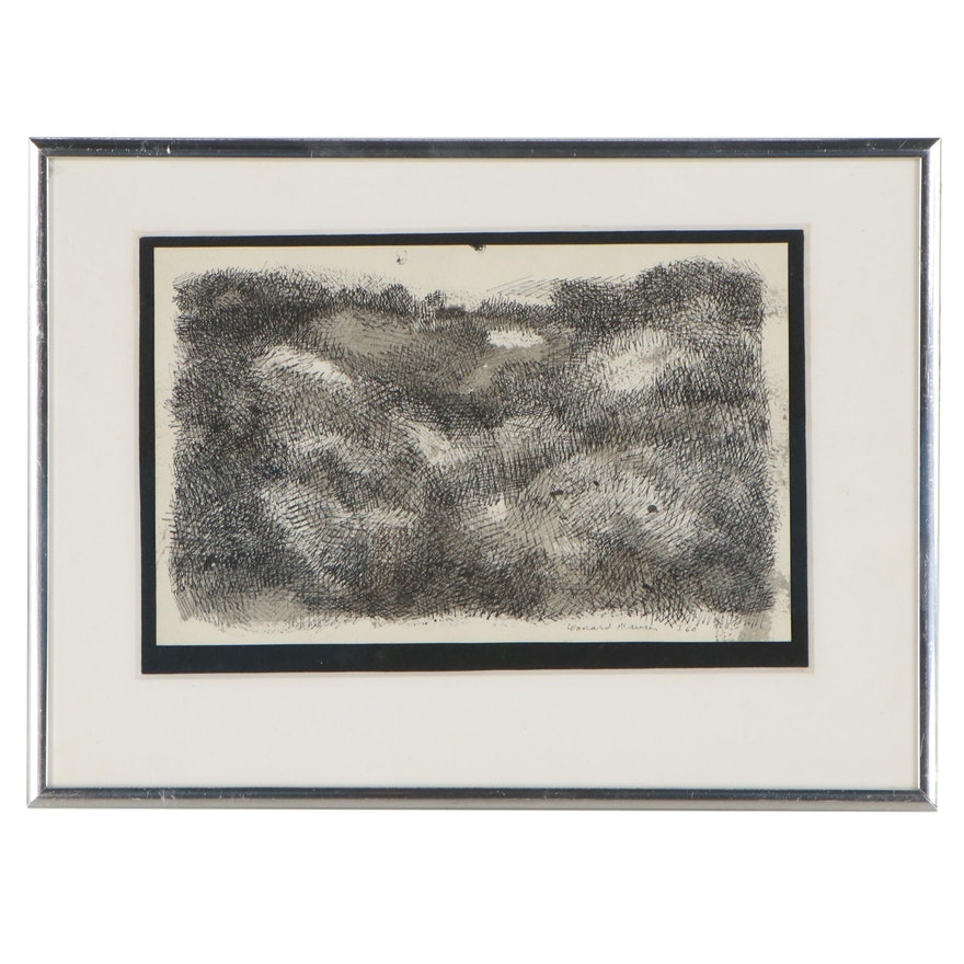 """Leonard Maurer Ink Drawing """"I,"""" 1960"""