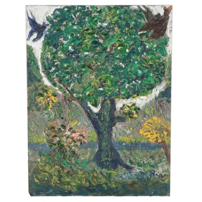 Robert Wright Folk Art Acrylic Painting of Birds in Tree, Late 20th Century