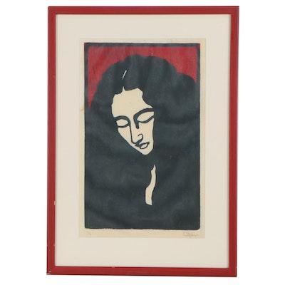 Portrait Linoleum Cut of Woman, 20th Century