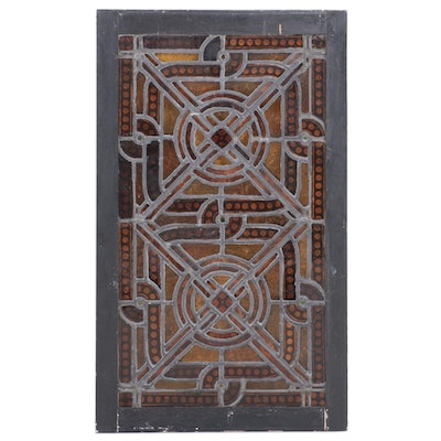 Wood Framed Stained Glass Window Panel