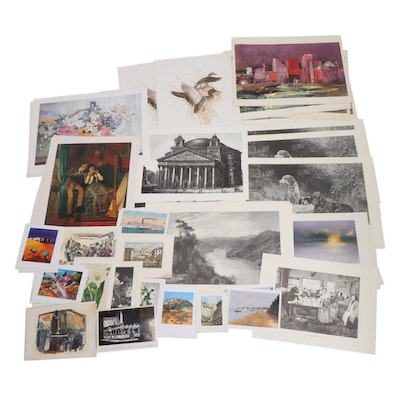 Figural, Cityscape, Harbor Scene, and Other Photomechanical Prints