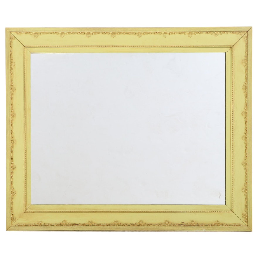 Rectangular Arts and Crafts Style Painted Wood Wall Mirror