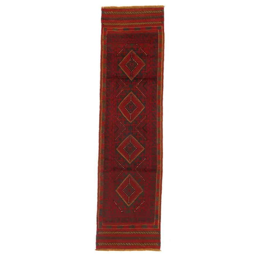 2'1 x 8'2 Hand-Knotted Afghan Turkmen Mixed Technique Carpet Runner