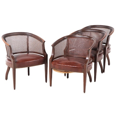 Hickory Chair Caned and Barrel-Back Leather Upholstered Armchairs, Mid-20th C.