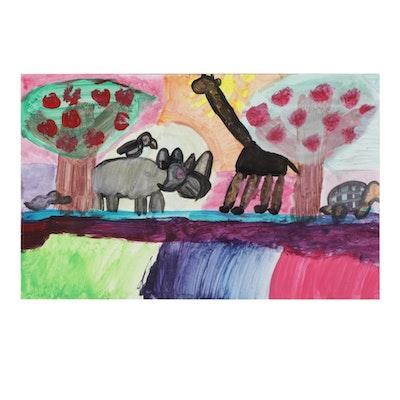 Outsider Art Acrylic Painting of Wildlife, 21st Century