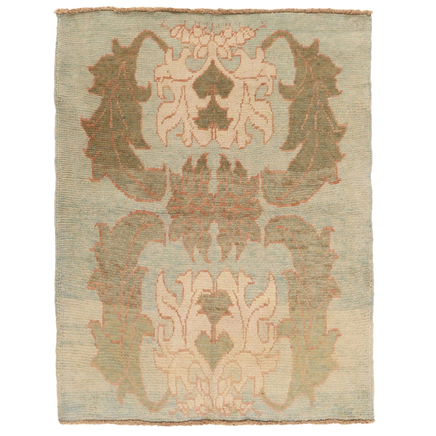 4'3 x 5'6 Hand-Knotted Turkish Donegal Style Oushak Area Rug