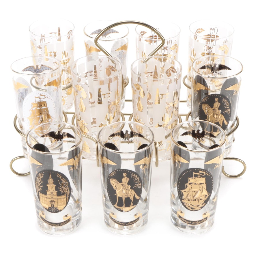 Libbey Americana Highball Glasses with Holder, Mid-20th Century