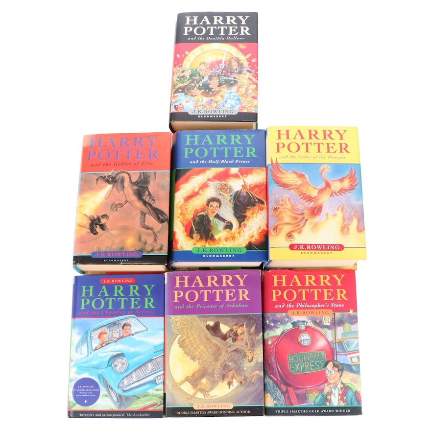 """First UK Edition Complete Set """"Harry Potter"""" Series by J. K. Rowling"""