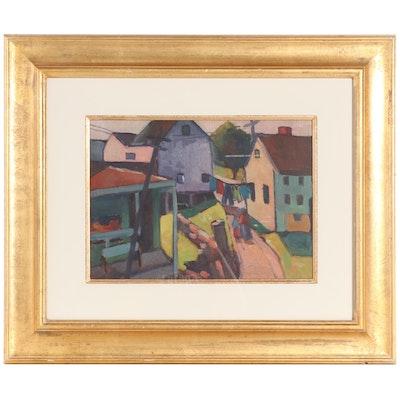 "Harriette Landon Oil Painting ""Rockport Street Scene,"" Mid-20th Century"