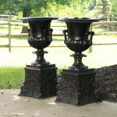 Pair of Victorian Cast Iron Urn Planters, 20th Century