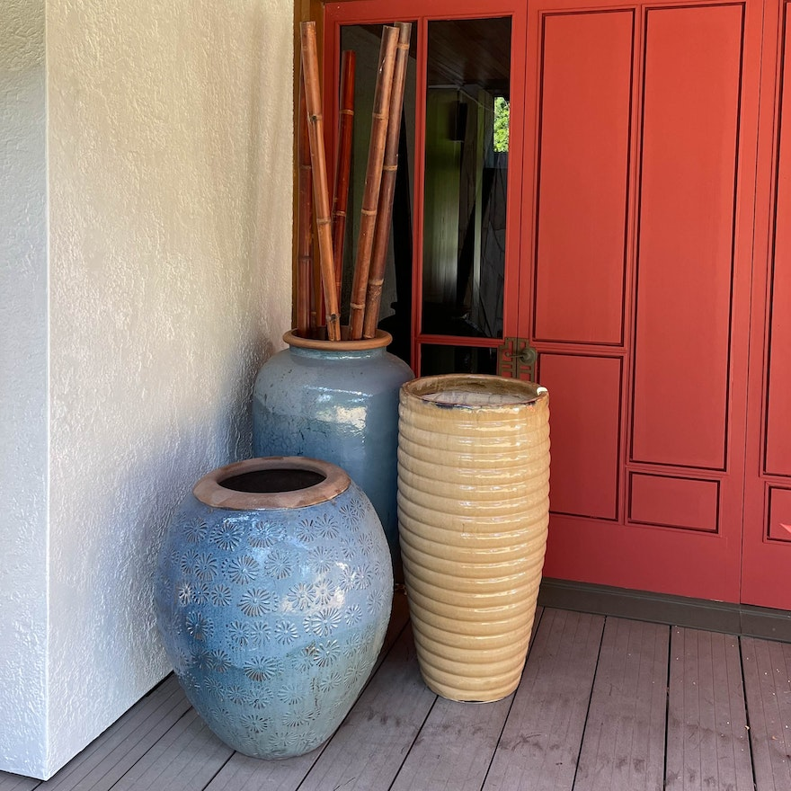 Glazed and Ribbed Earthenware Floor Pots with Bamboo Poles