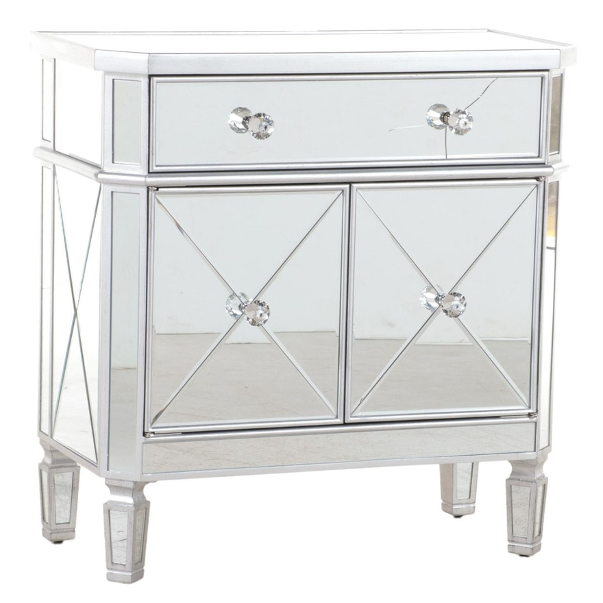 Contemporary Silver-Gilt and Mirrored Glass Side Cabinet