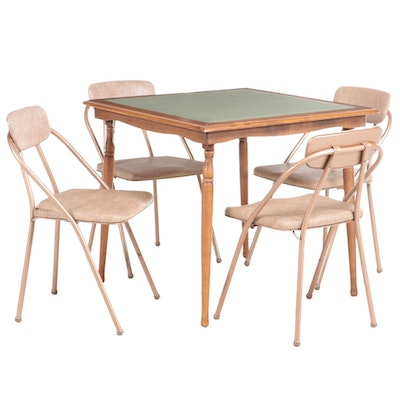 Wooden Folding Card Table with Metal Folding Chairs