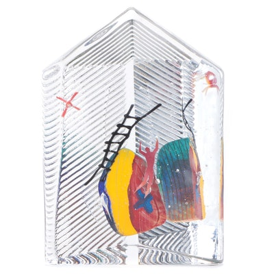 Bertil Vallien for Kosta Boda Limited Edition Modernist Glass Paperweight