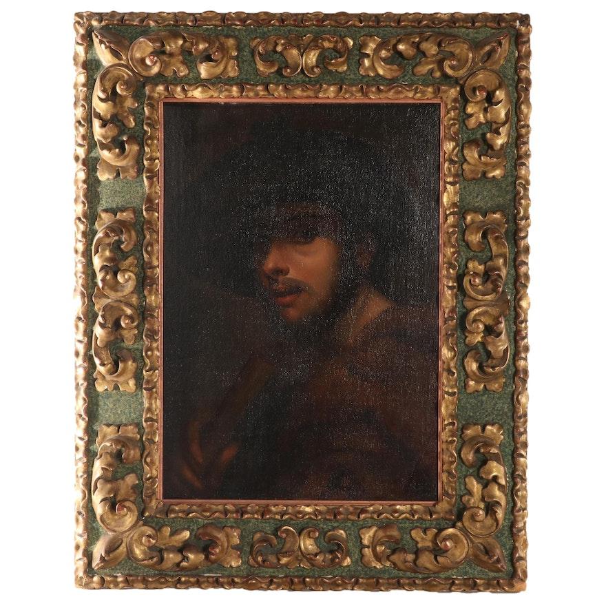 "Oil Painting After Sebastiano del Piombo ""Pastore con Flauto,"" 18th Century"