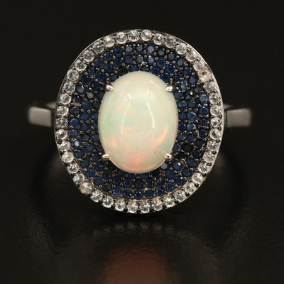 Sterling Pavé Sapphire and Opal Ring