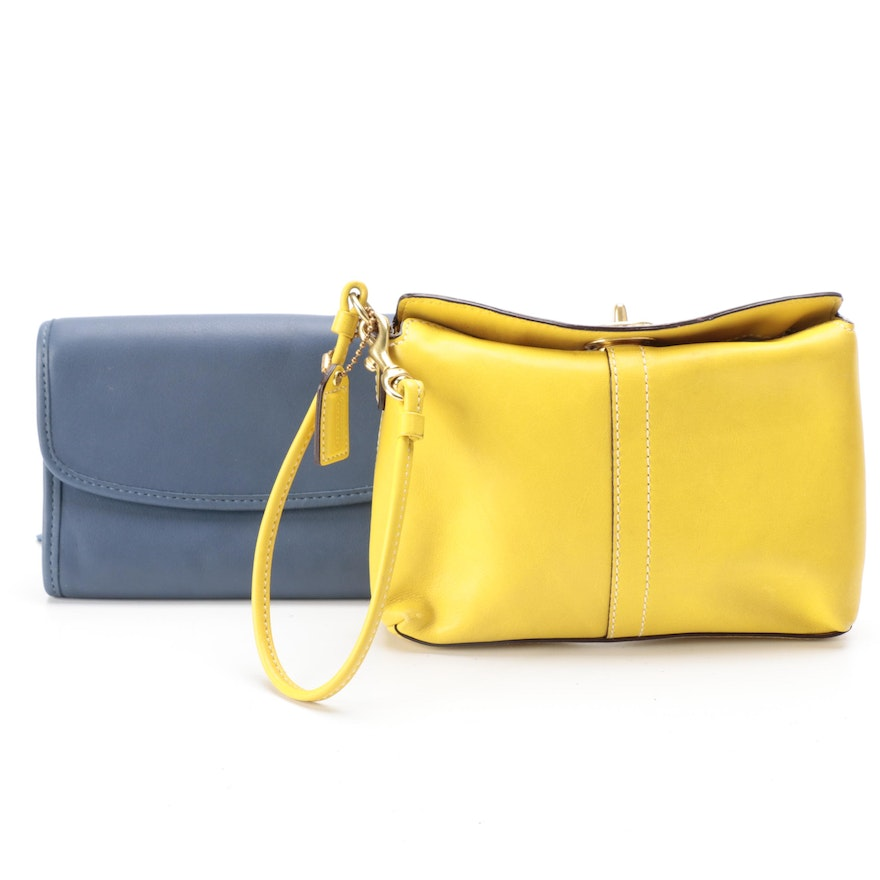 Coach Small Front Flap Leather Crossbody and Turnlock Leather Wristlet