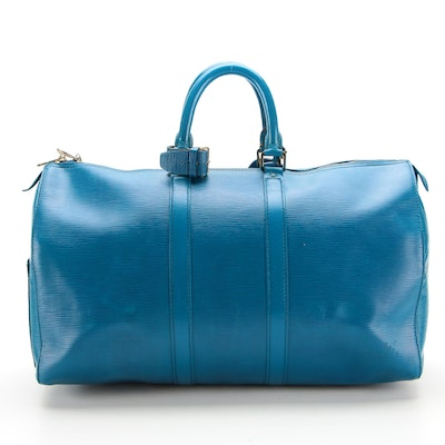 Louis Vuitton Keepall 45 in Toledo Blue Epi Leather with Poignet and Luggage Tag