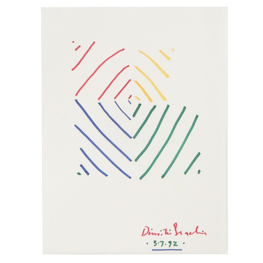Dimitri Grachis Minimalist Abstract Marker Drawing, 1992