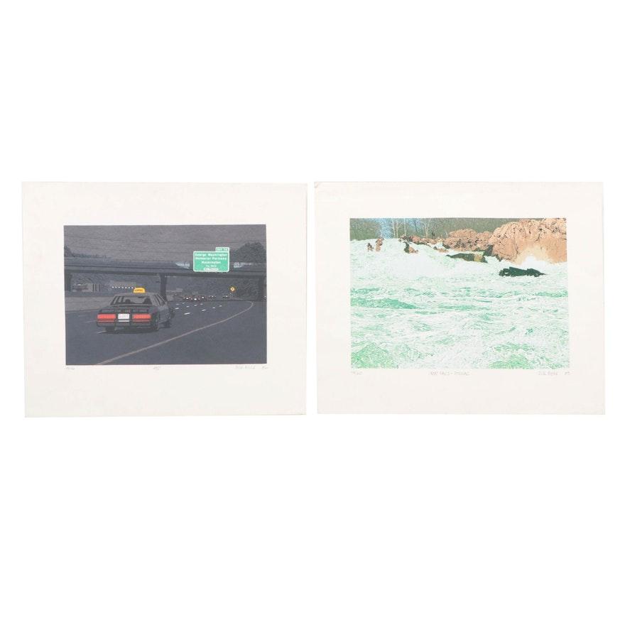 """Rick Biehl Serigraphs """"Great Falls - Potomac,"""" and """"495,"""" 1982-83"""