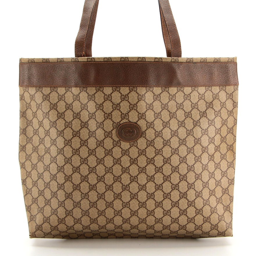 Gucci Accessory Collection Tote in GG Canvas with Leather Trim