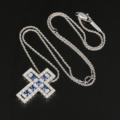 "Damiani ""Belle Epoque""18K Diamond and Sapphire Cross Pendant Necklace"
