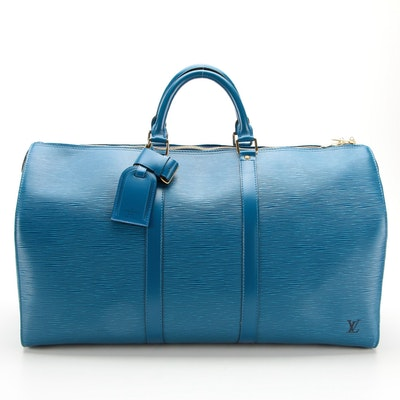 Louis Vuitton Keepall 50 Duffel Bag in Toledo Blue Epi and Smooth Leather