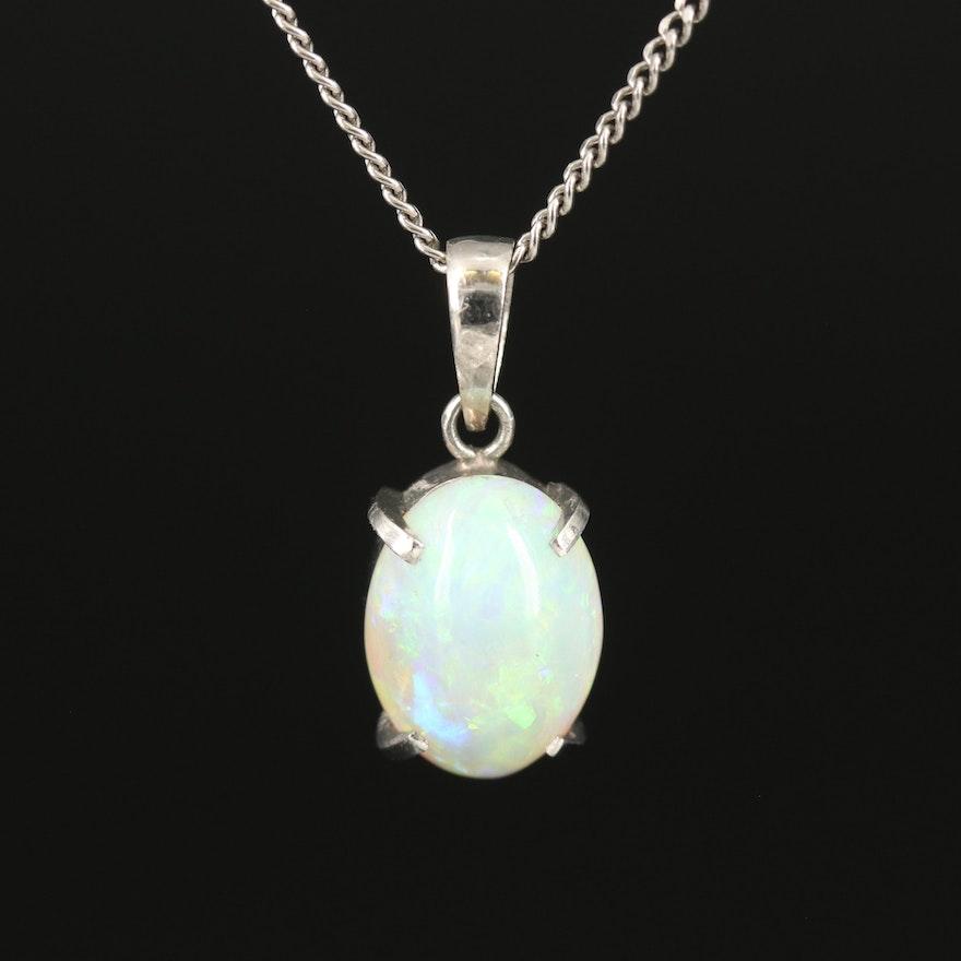 Platinum and Opal Pendant Necklace