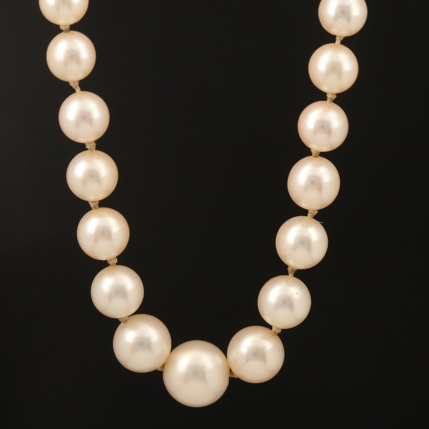 Vintage Graduated Pearl Necklace with 10K Clasp