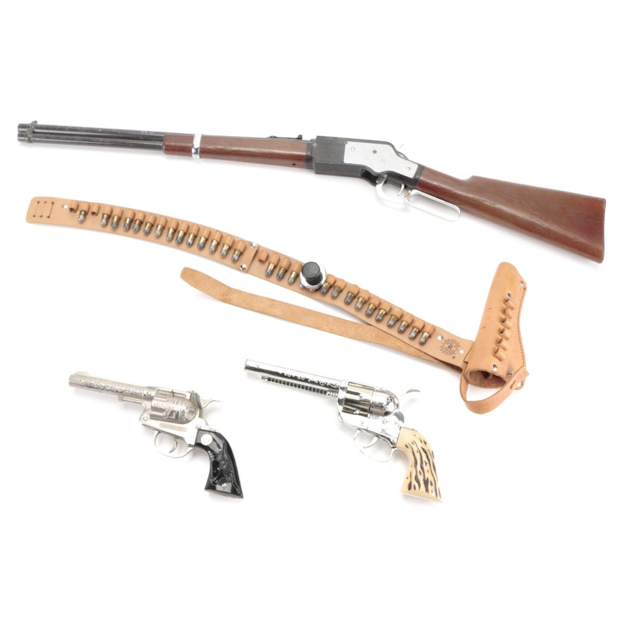 Mattel and Hubley Cast Metal Pistols and Holster with Mattel Saddle Gun Rifle