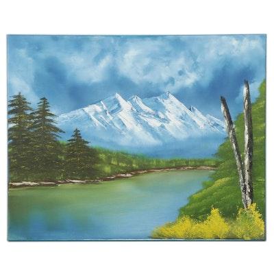 Cindy Machin Mountain River Landscape Oil Painting, 2021