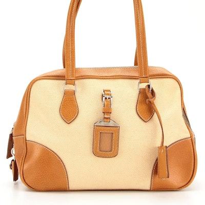 Prada Handbag in Raw Hemp and Leather with Padlock and Keys