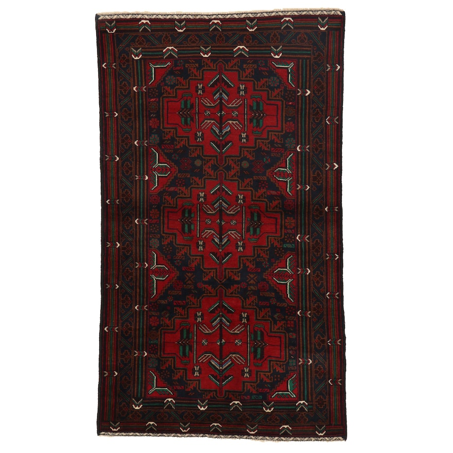 3'10 x 6'7 Hand-Knotted Afghan Baluch Area Rug