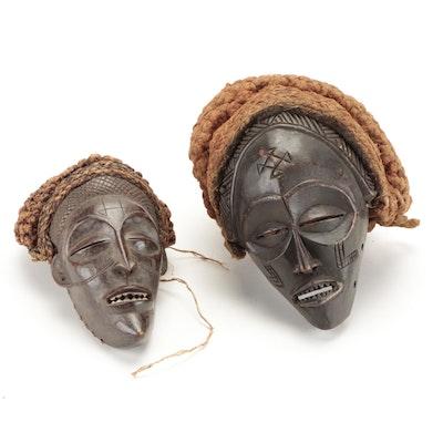 Chokwe Style Hand-Carved Wood Masks, Central Africa