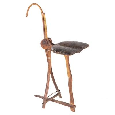 Hosea Hayden Folk Art Wood Folding Cane Seat, circa 1885