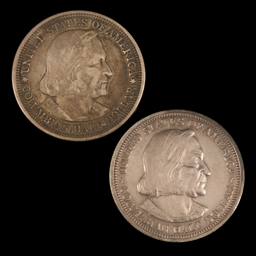 Two Columbian Exposition Commemorative Silver Half Dollars, 1892 and 1893
