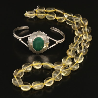 Sterling Malachite Bangle and Citrine Beaded Necklace