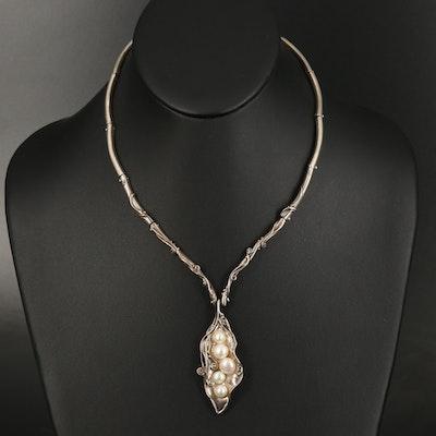 Sterling Silver Pearl Pea Pod Necklace