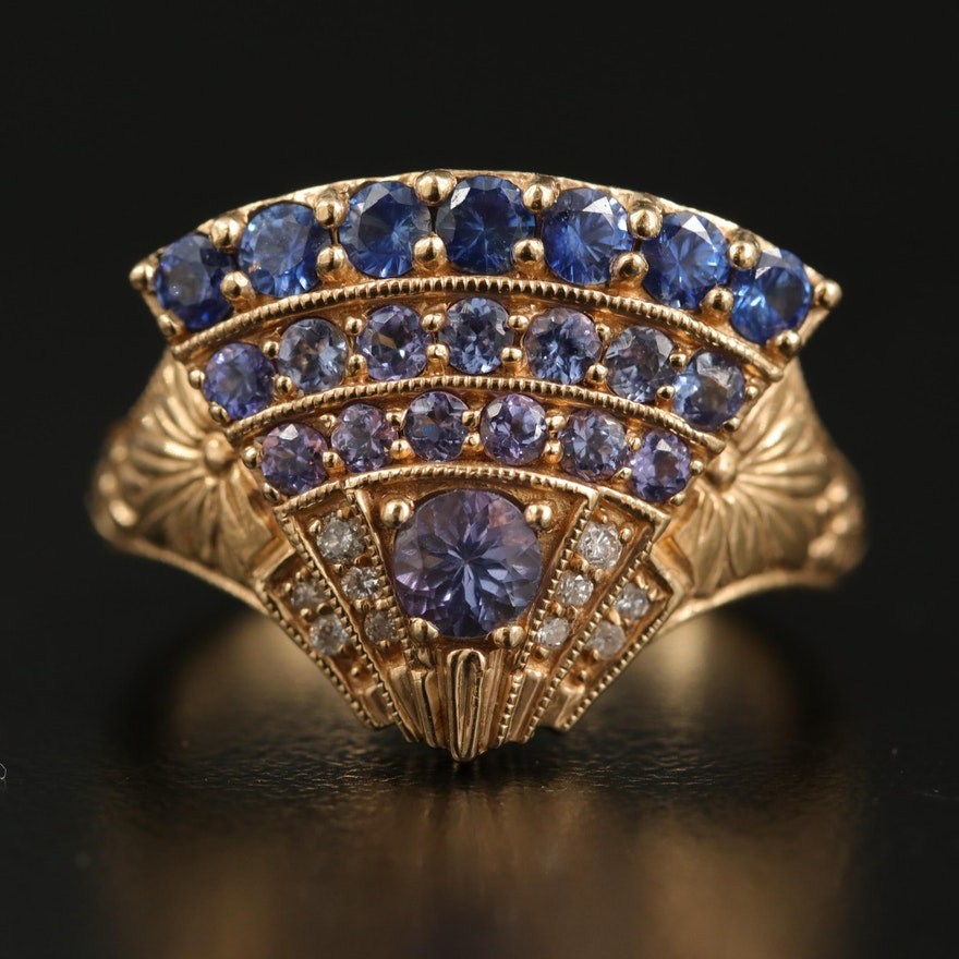 14K Tanzanite and Diamond Fan Ring