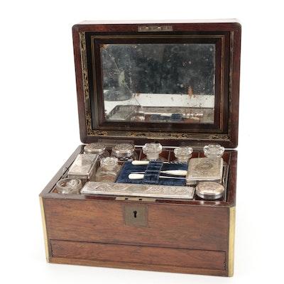 English Rosewood Ladies Necessaire Case with Accessories, 1856