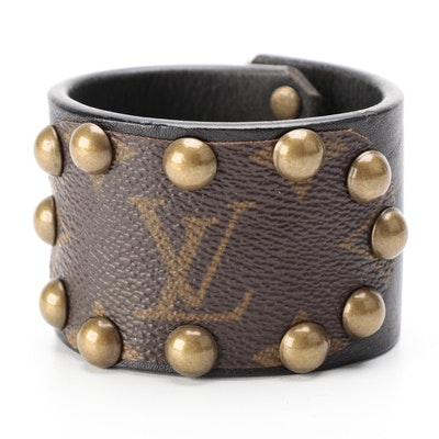 Studded Leather Cuff Fashioned from Louis Vuitton Monogram Canvas