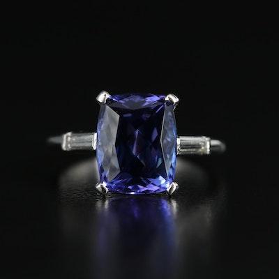 Platinum 3.56 CT Tanzanite Ring with Diamond Shoulders
