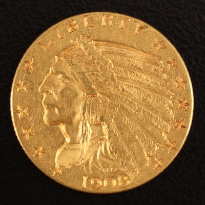 1908 Indian Head $2.50 Quarter Eagle Gold Coin