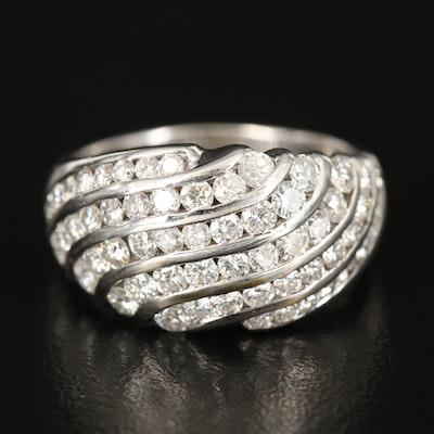 18K 1.40 CTW Multi-Row Diamond Wave Ring