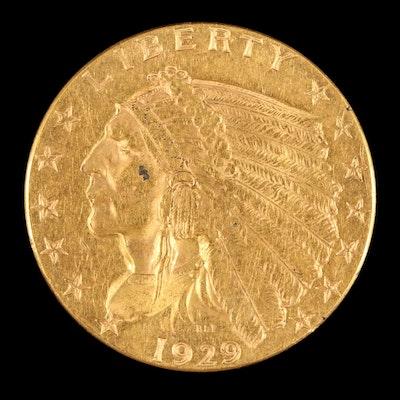1929 Indian Head $2.50 Quarter Eagle Gold Coin