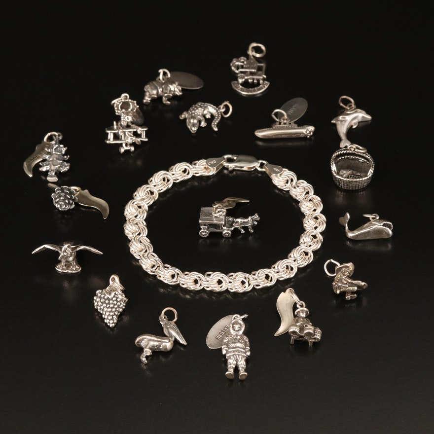 Sterling Travel Charms and Rosette Link Bracelet Including Alaska Charms